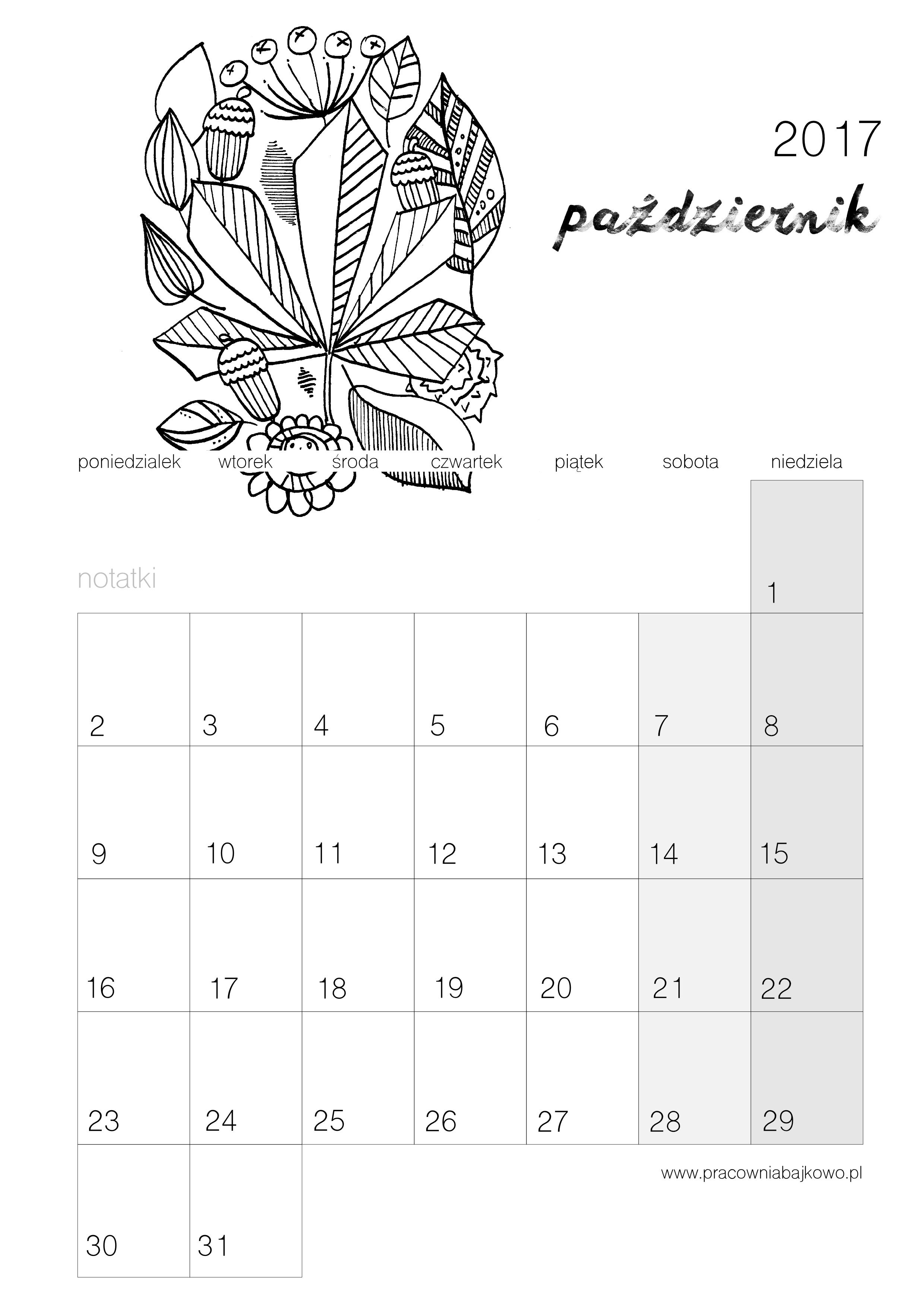 010 kalendarz 2017 pazdziernik