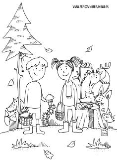 rysodzialek las dzieci