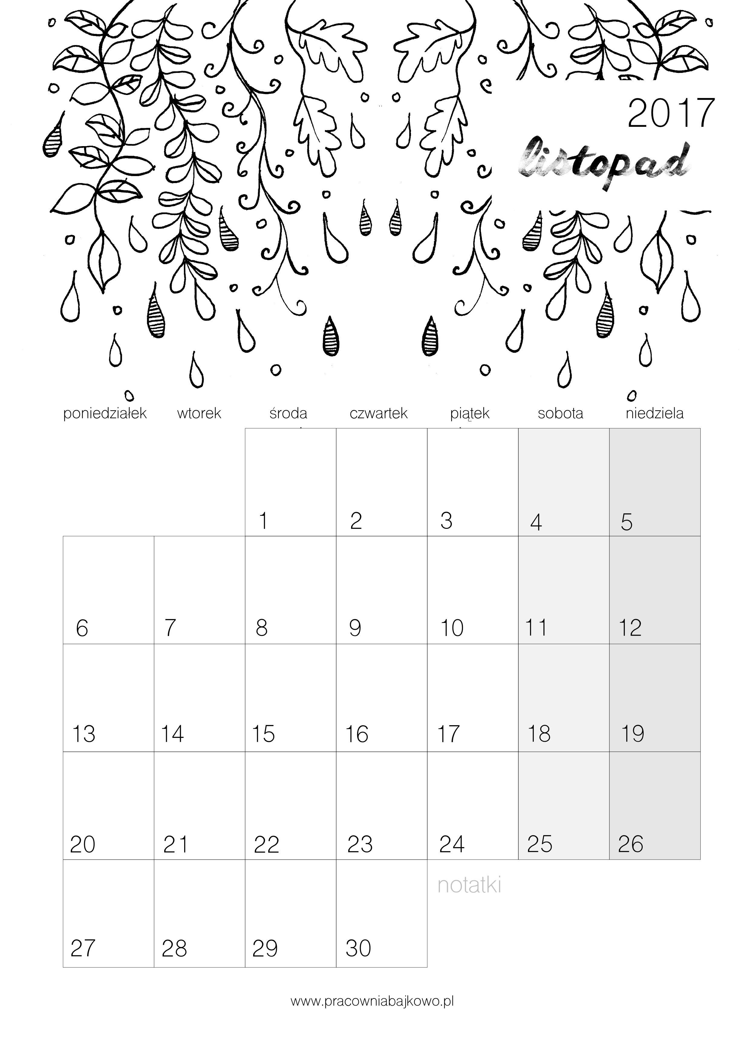011 kalendarz 2017 listopad