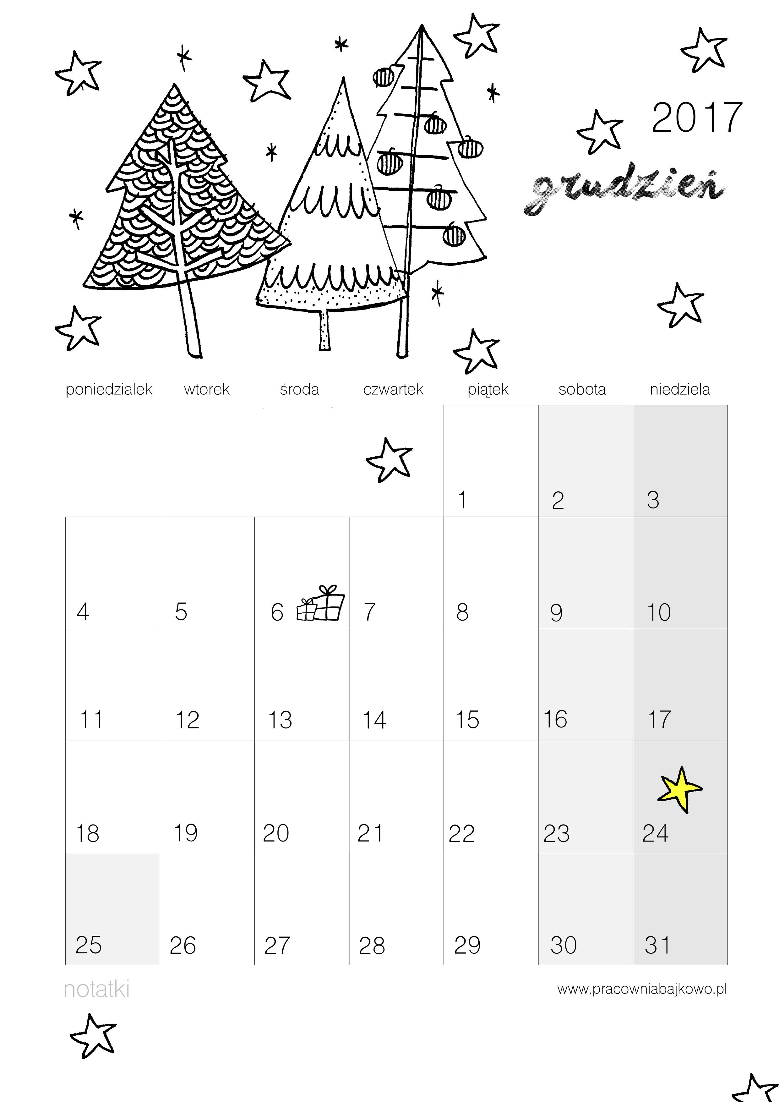 012 kalendarz 2017 grudzień