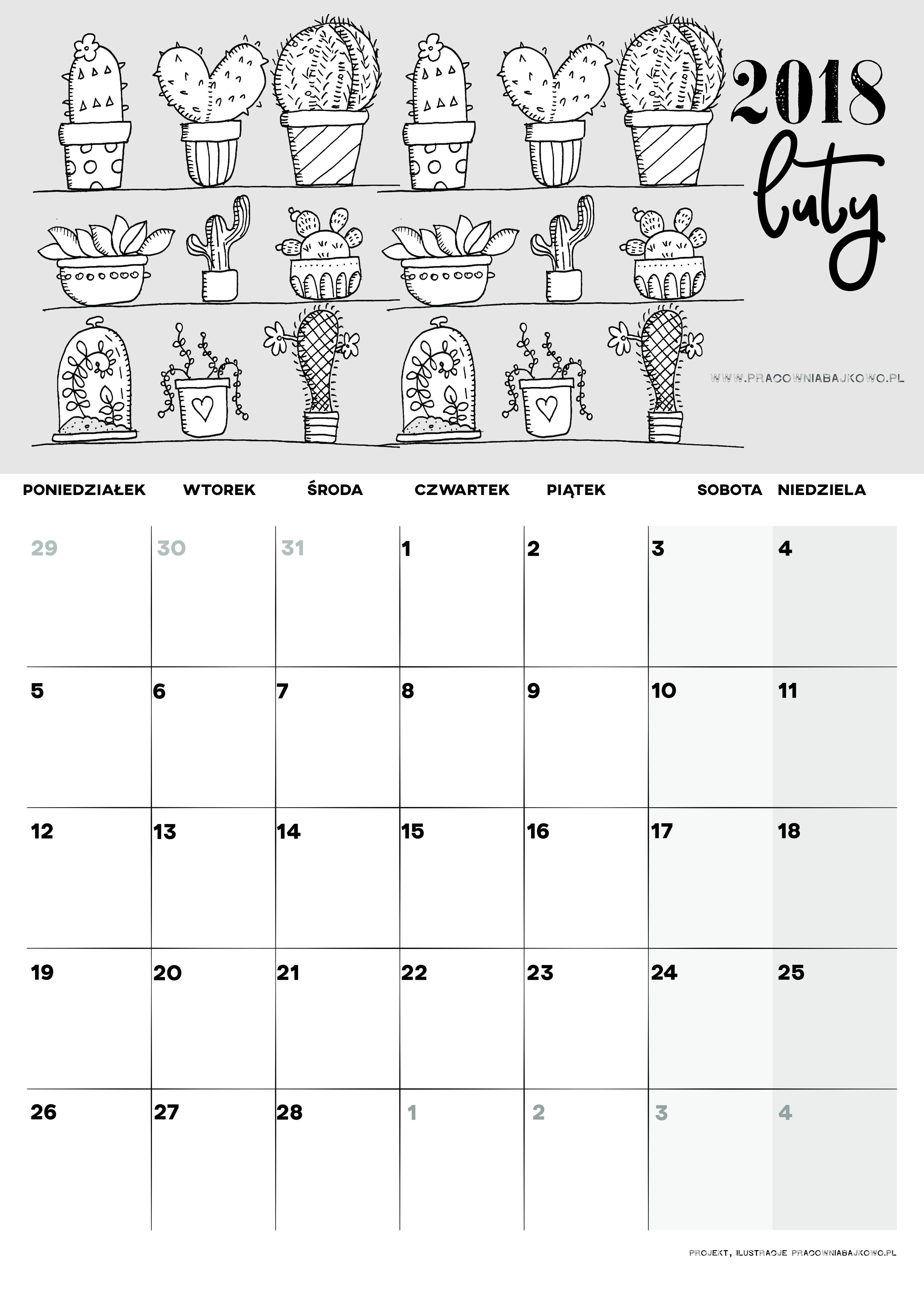 002 luty kalendarz 2018